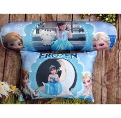 AB-013 Bộ gối in ảnh bé cùng Elsa và Anna