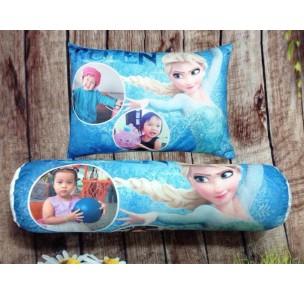 AB-018 Bộ gối in ảnh bé cùng Elsa xanh