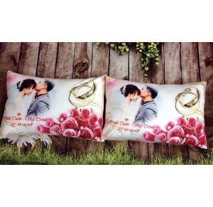 CN-031 Cặp gối in ảnh -  nhẫn cưới và hoa hồng